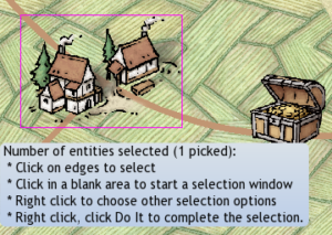 Command Prompt text indicates only one village is selected where  two previously were