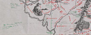 An excerpt of a map of Middle Earth with handwritten annotations by J.R.R. Tolkien and Pauline Baynes.