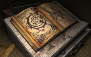 A book of arcane knowledge, open on an old, wooden, desktop reading easel. The pages are covered in symbols. A drawer is open. A key next to the book.